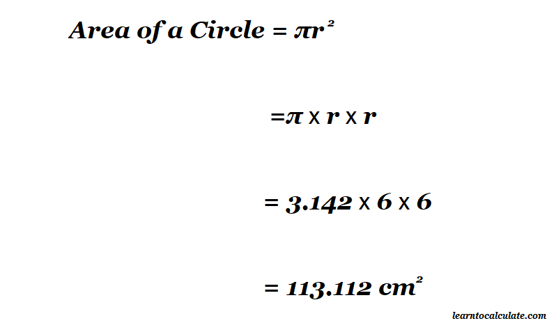 how to calculate area of circle