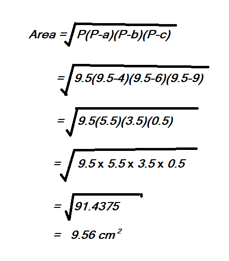 how to calculate area of a triangle using the length of three sides