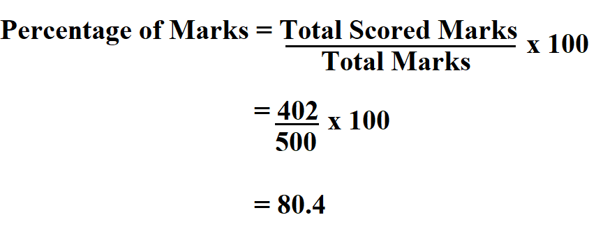 Calculate Percentage of marks.