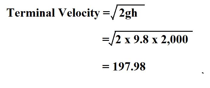 Calculate Terminal Velocity.