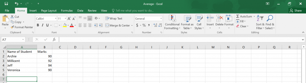 Calculate Average in Excel.