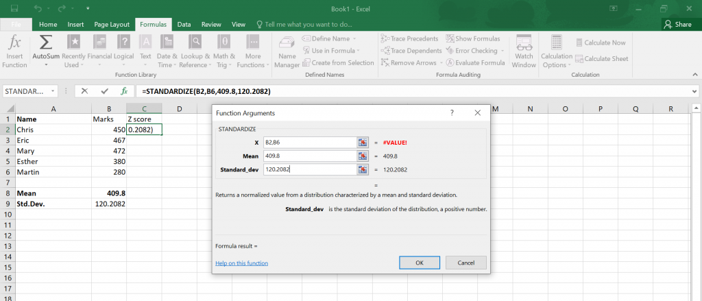 Calculate Z Score in Excel.