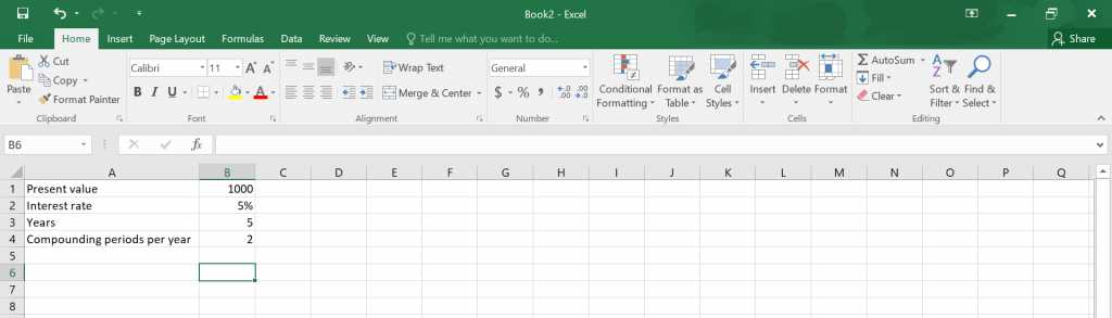 Compound Interest in Excel.