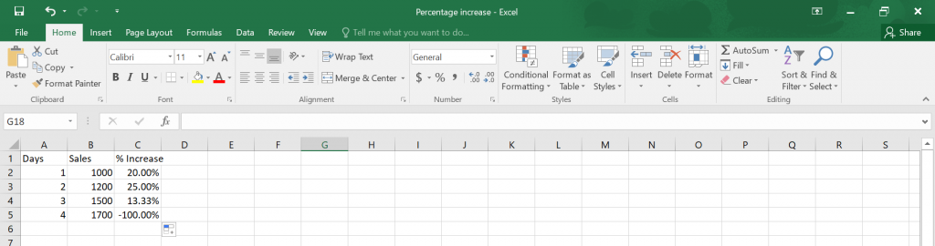 Percentage Increase in Excel.