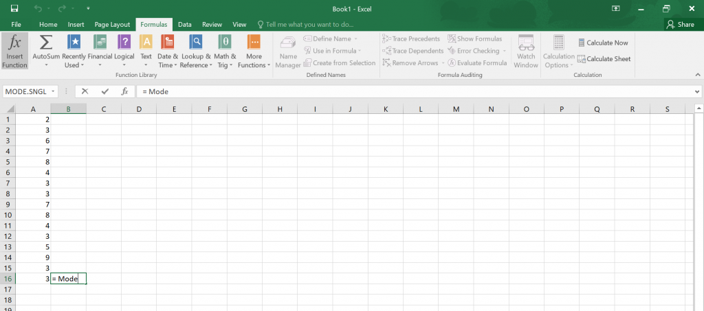 Calculate Mode in Excel.