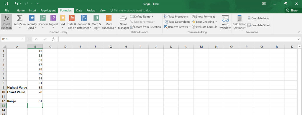 Calculate Range in Excel.