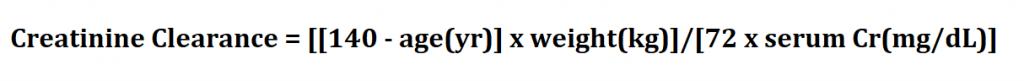 Calculate Creatinine Clearance.