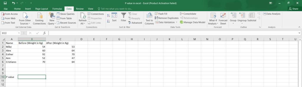 P value in Excel.